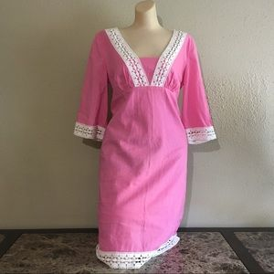 Lilly Pulitzer | Solid Pink Dress w Eyelet Trim
